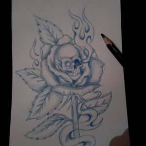 Rosa con cráneo