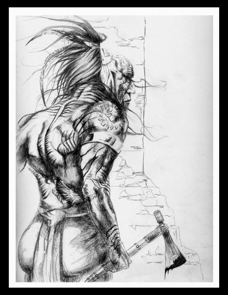 Huron Warrior Por Royalfiery Dibujando