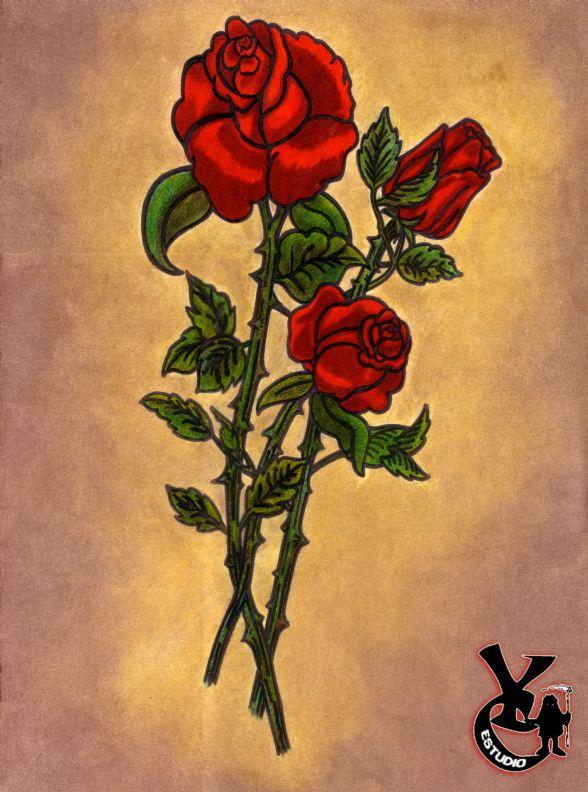 Rosas Rojas por YokoCreations  Dibujando