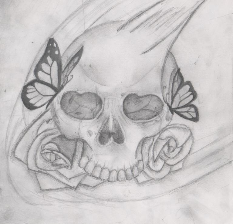 Calavera Mariposas Por Zahira Dibujando