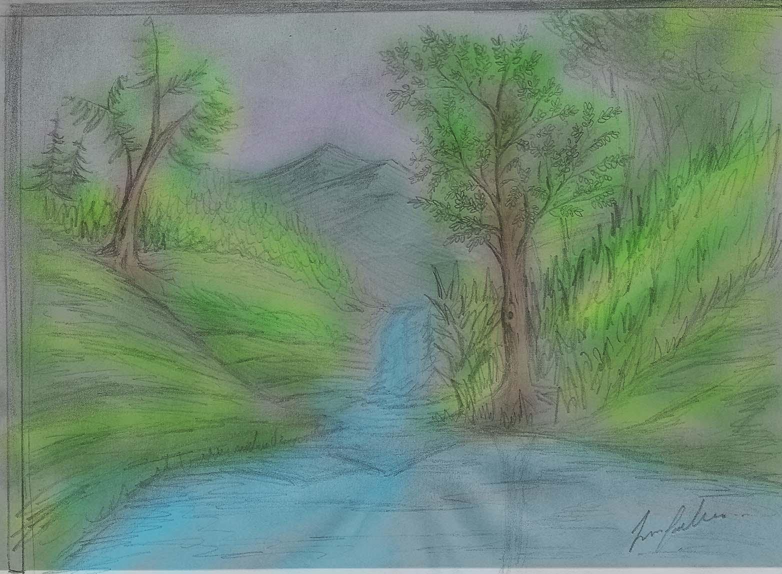 Paisajes Para Dibujar A Color Faciles: Dibujos A Color De Paisajes. Paisajes Con Palmeras En La