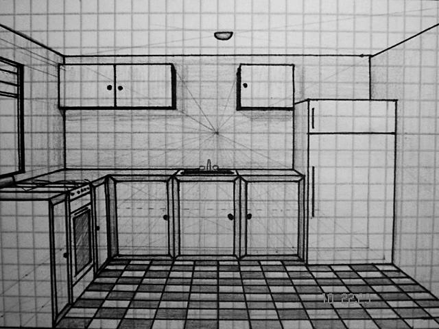 perspectiva de una cocina por aisaak dibujando