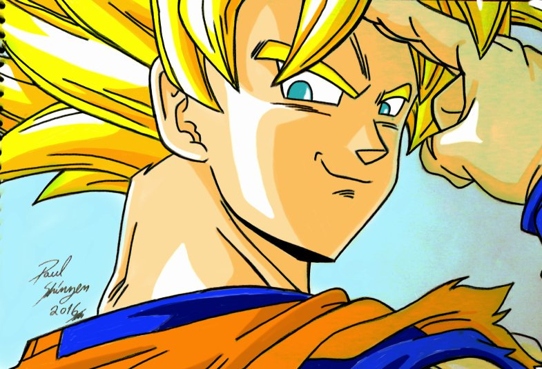 dibujo fan art goku de anime dragon ball z kai por shinzen   Dibujando
