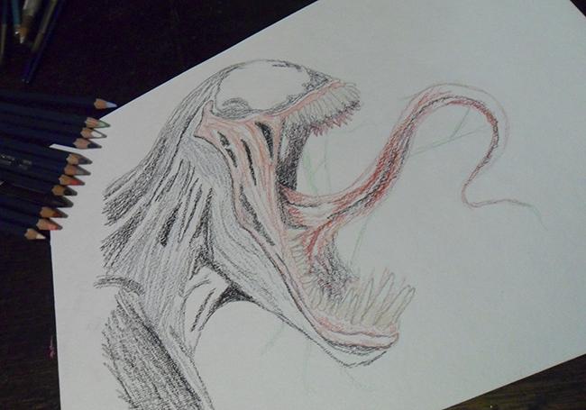 Dibujo De Un Lapiz De Color: Venom (Dibujo Con Lapiz De Color) Por JairMB